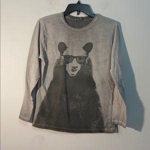 Zara Boys Bear 🐻 with Shades Sz 12/14 Long Sz Tee